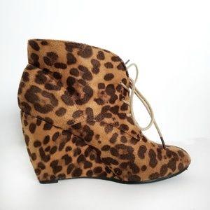 Leopard Print Wedge Booties Animal Pattern Wedges